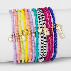 Colorful Beaded Wrap Set of Twelve Bracelets